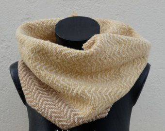 Handwoven cowl-scarf denim-brown-strips-Woven by OriginalKnitting