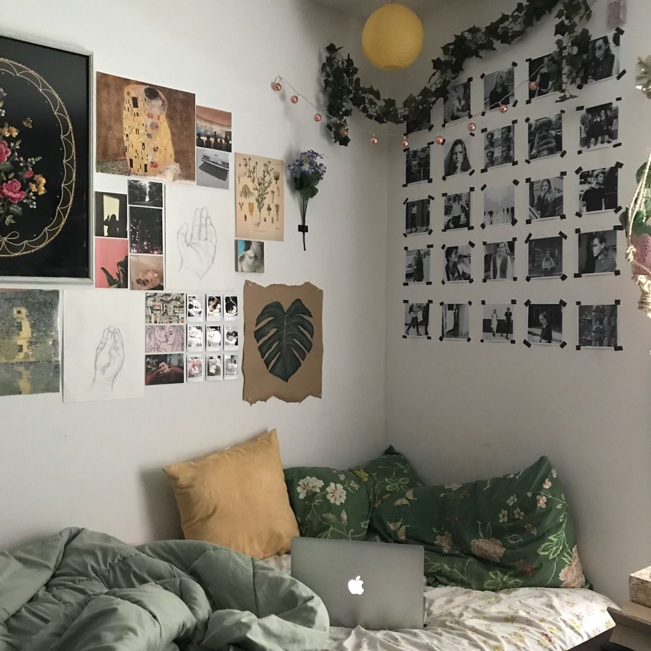 Green Bedroom Tumblr Creative Wall Painting Multipurpose Room Room Decor