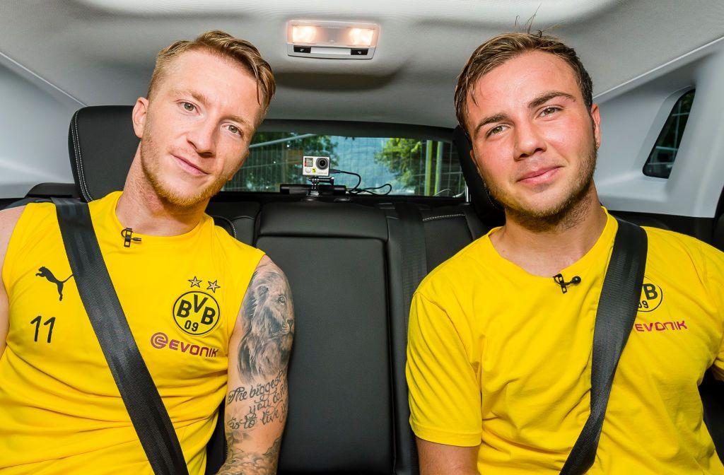 Marco Reus And Mario Goetze Of Borussia Dortmund Pose During A Game Mario Gotze Borussia Dortmund Dortmund