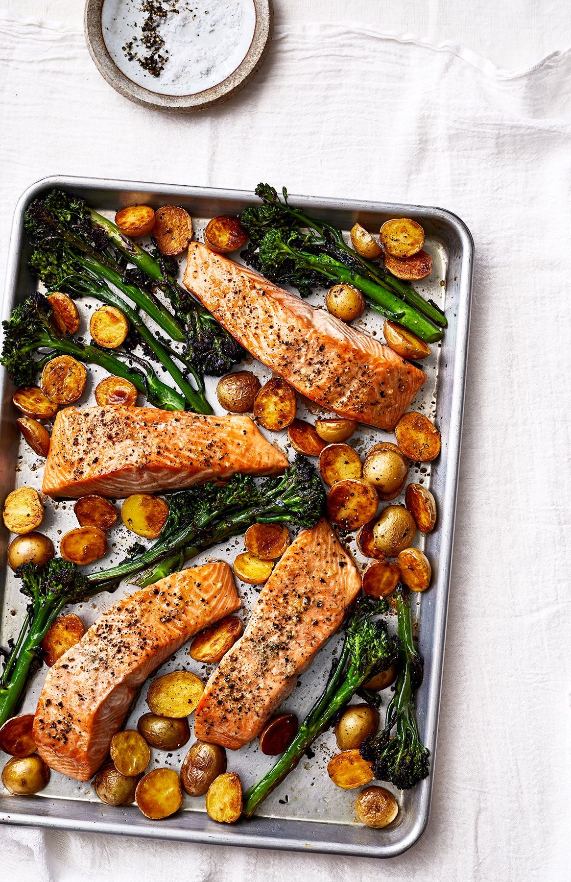 Sheet Pan Salmon With Potatoes and Broccolini
