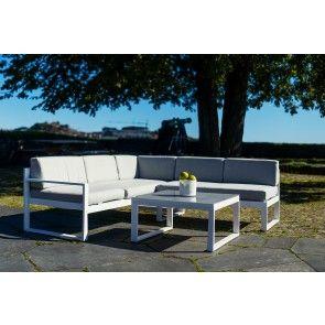 DOVER hvit hagemøbler - hjørnesofa+bord