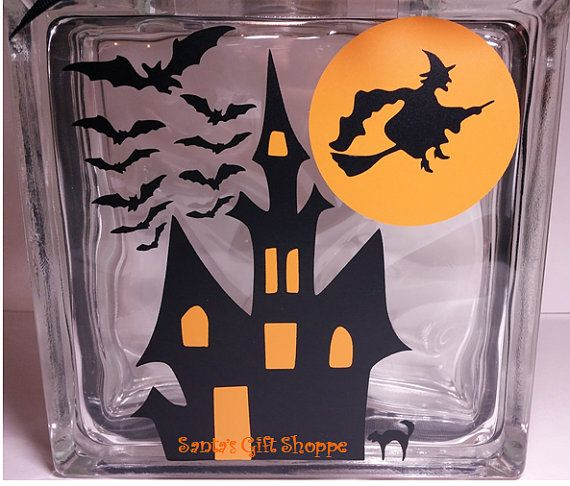 Halloween Witch And Bats Glass Block By Santasgiftshoppe On Etsy - Halloween vinyl decals for glass blocks