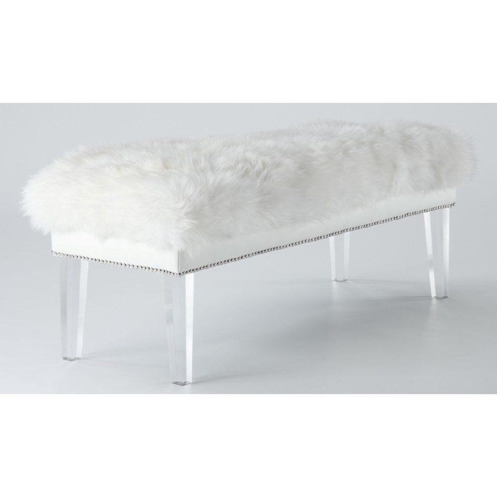 Tov Furniture TOV-O22 Luxe White Sheepskin Lucite Bench NEW #TovFurniture