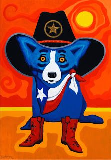 Take Me Back To Texas 2012 Painting George Rodrigue Blue Dog