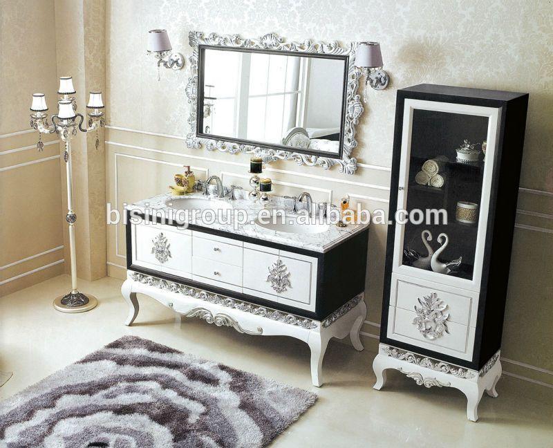 Vintage doble lavabo del baño vanidad con marmol superior ...