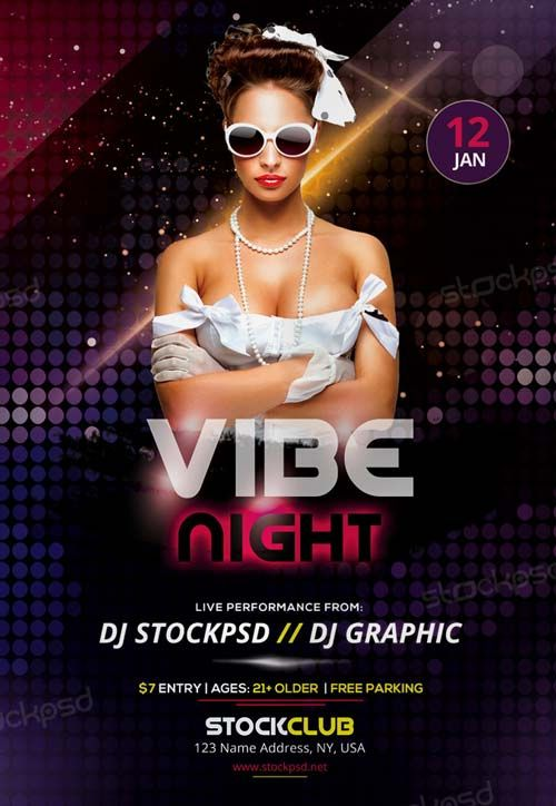 Vibe Night Free Party Flyer Template - http\/\/freepsdflyer - party flyer
