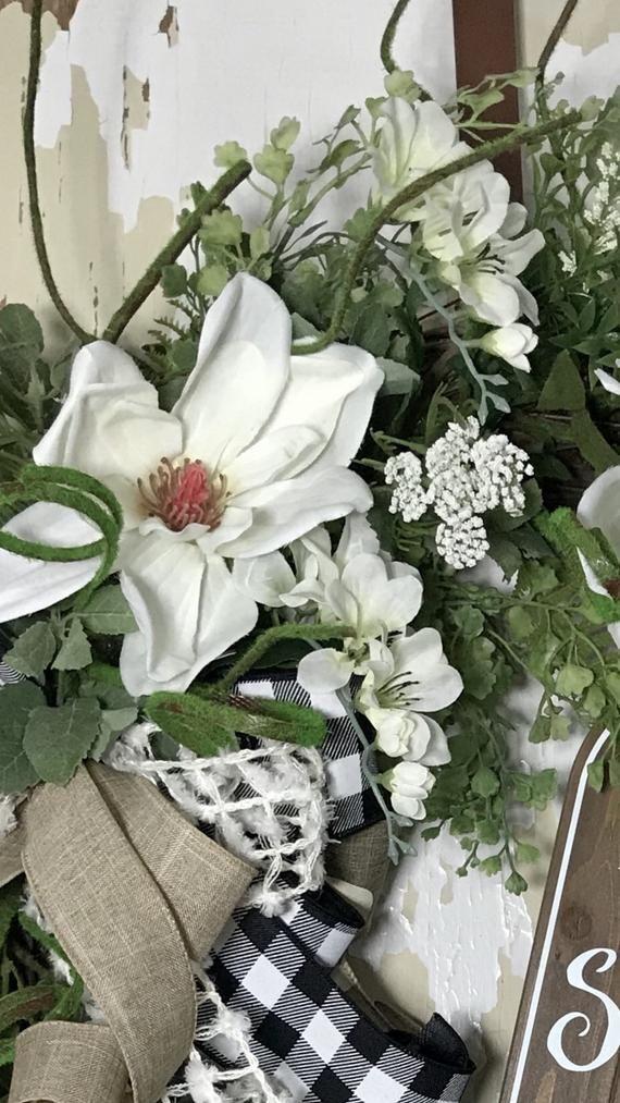 Photo of Everyday wreath, magnolia wreath, summer wreath, rustic wreath, peasant wreath, country wreath, front door wreath, peasant wreath door