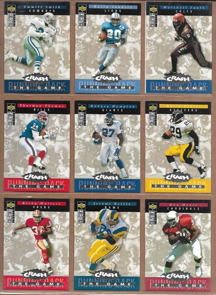 Upper deck nfl football 1994 crash the game silver cards