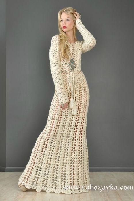482b41444df Длинное платье крючком простым узором. Схема вязания длинного платья ...