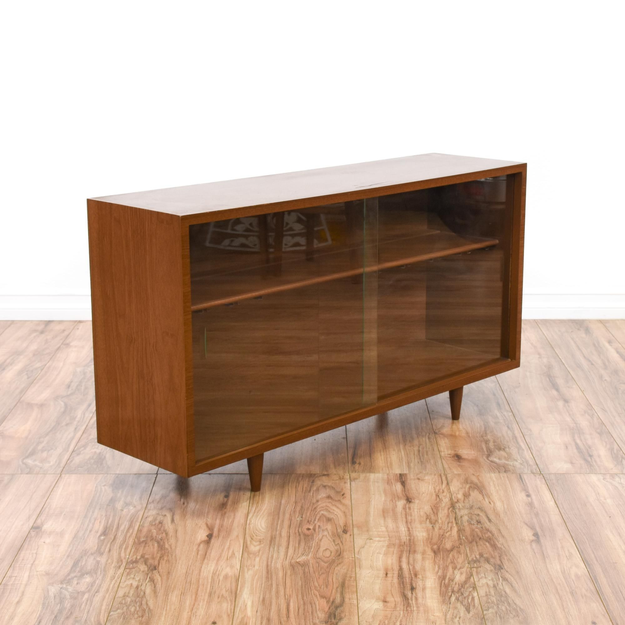 Wine Cabinets This Low Mid Century Modern Display Case Is Featured In A Solid Wood With Glossy