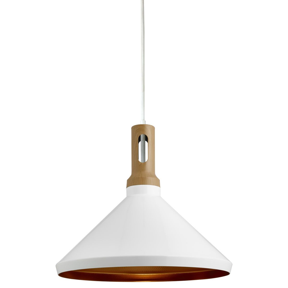 Wh cone white pendant light with gold inner from dushka ltd