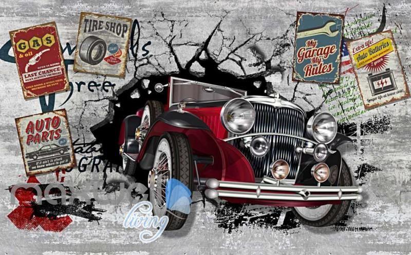3d Classic Car Vintage Garage Art Wall Murals Wallpaper Decals Prints Decor Idcwp Jb 000001 Garage Art Decal Wall Art Art Cars