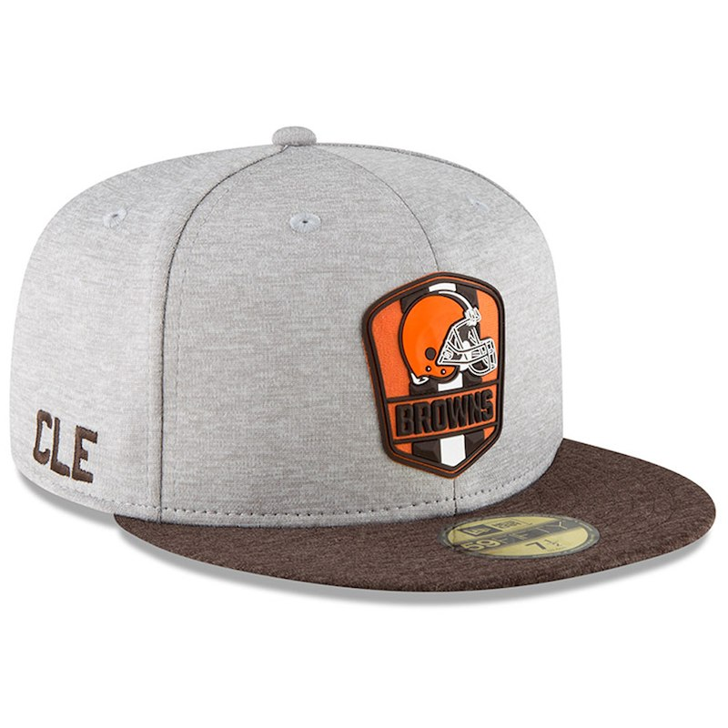 493c4ae7966 Cleveland Browns New Era 2018 NFL Sideline Road Official 59FIFTY Fitted Hat  – Heather Gray Brown