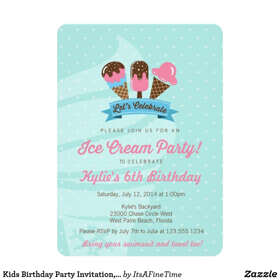 Kids Birthday Party Invitation, Ice Cream Party Card | Kids birthday ...