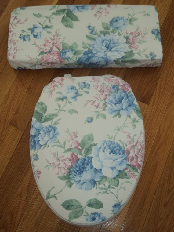 Shabby Victorian Blue Roses Toilet Seat Cover Set Blue