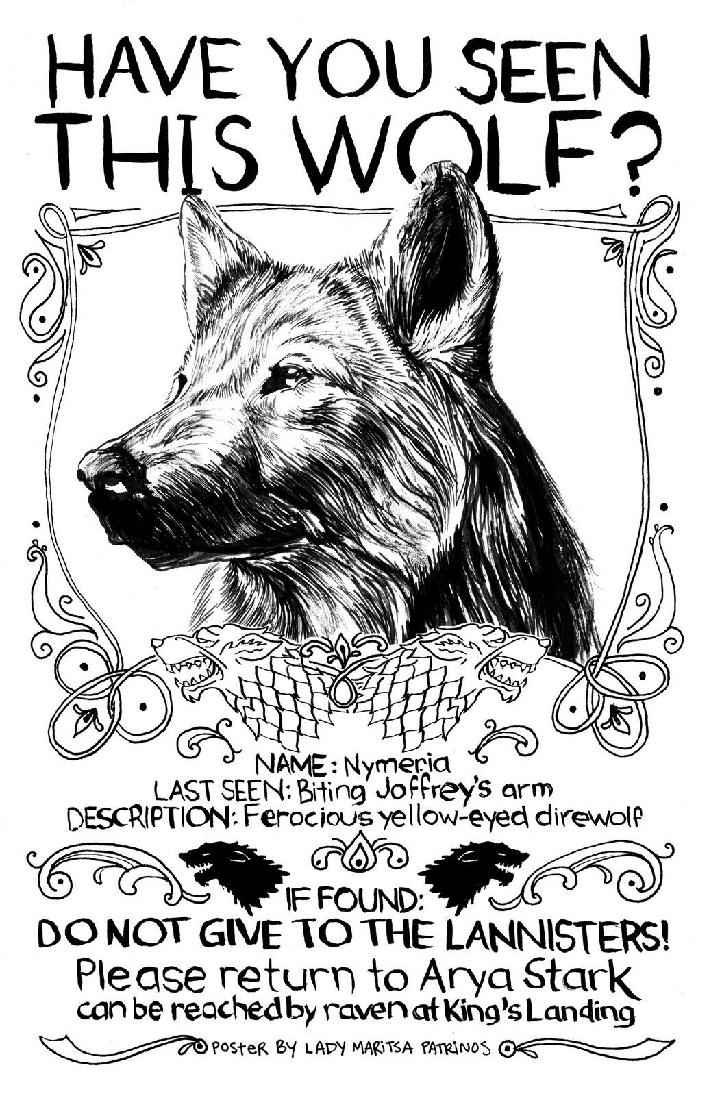 Have You Seen This Direwolf Arya Stark S Lost Dog Poster