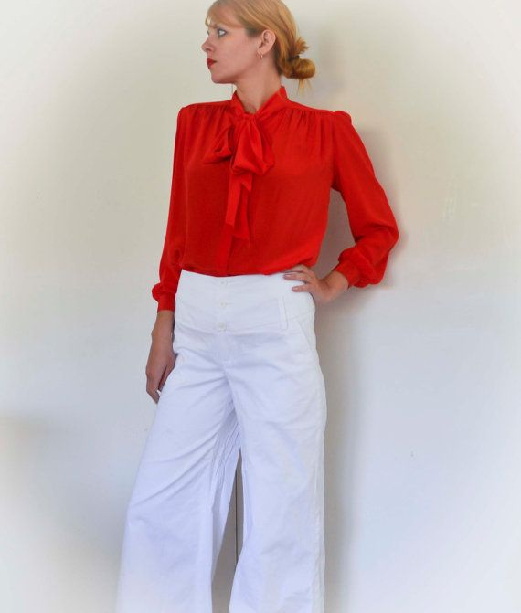Red Secretary Blouse Bow Tie Neck Shirt Silky by WoodlandSecrets