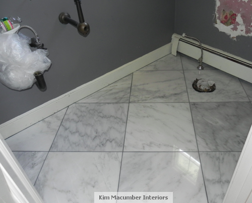 Statuary White Marble Floor With Platinum Grout In 2019