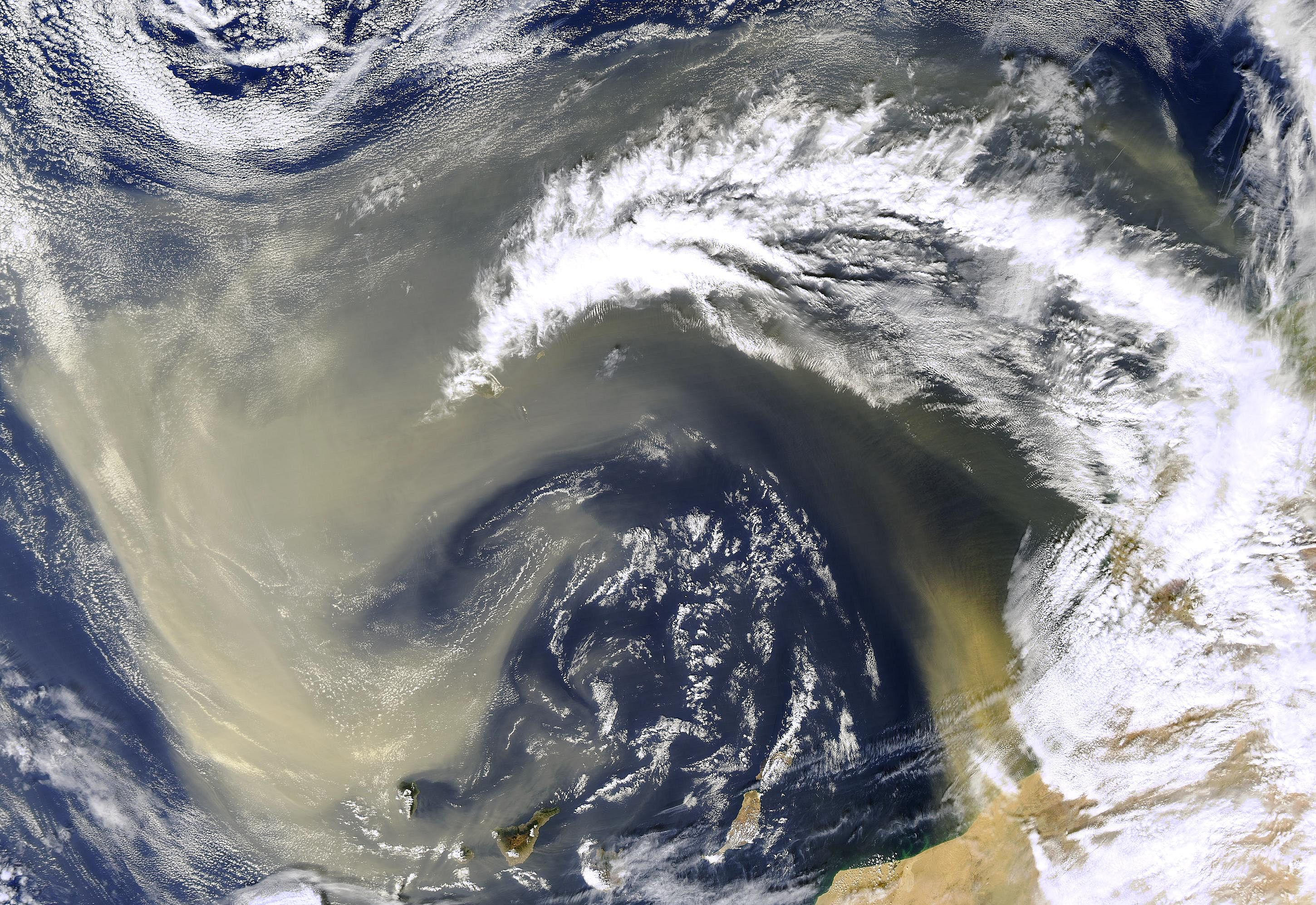 Dust Storm Over Canary Islands Earth From Space Earth Atmosphere Earth At Night