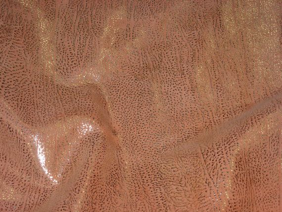 """Leather 8""""x10"""" Textured Platinum Metallic FROST on PEACH Cowhide 2.5-3.25 oz / 1-1.3mm PeggySueAlso TRIAL"""