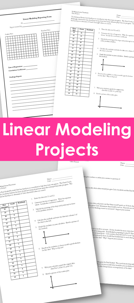 Linear Modeling Projects! (CCSS.HSF.LE.A.1) Algebra
