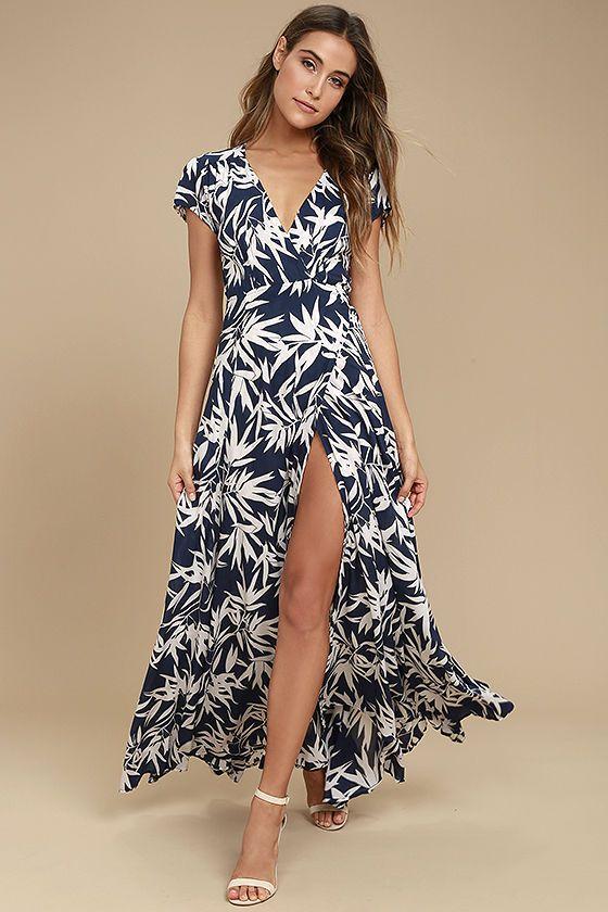 3659522ad953fe Amuse Society Provence Navy Blue Print Wrap Maxi Dress | my style ...