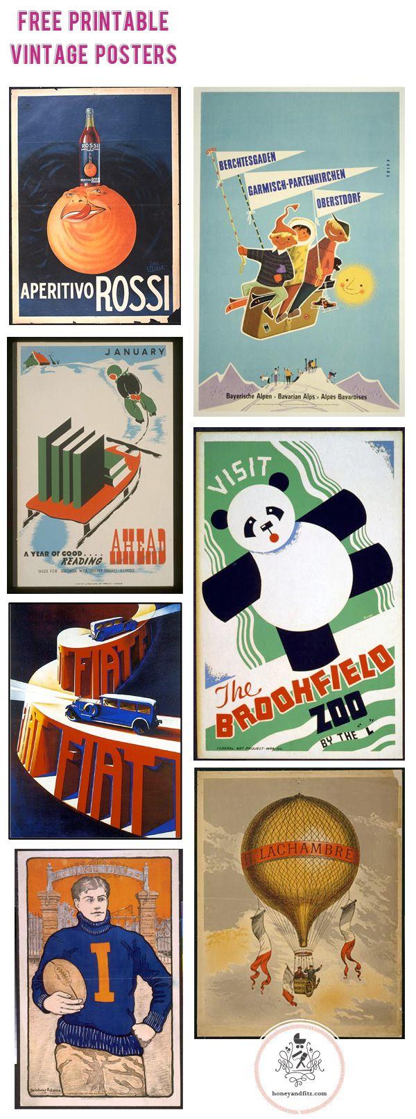 free printable vintage posters via honey fitz
