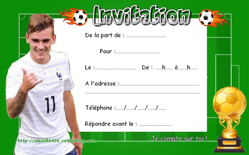 Carte D Anniversaire Gratuite A Imprimer Football Awesome Cartes Invitations Foot Antoine Griezmann 01 In 2020