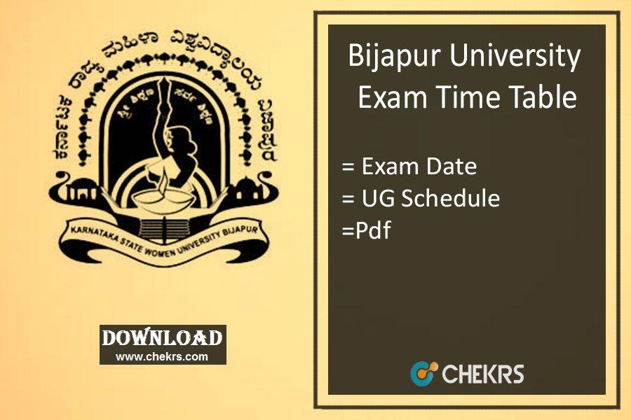 Bijapur University Time Table 2018 Downloadpdf https