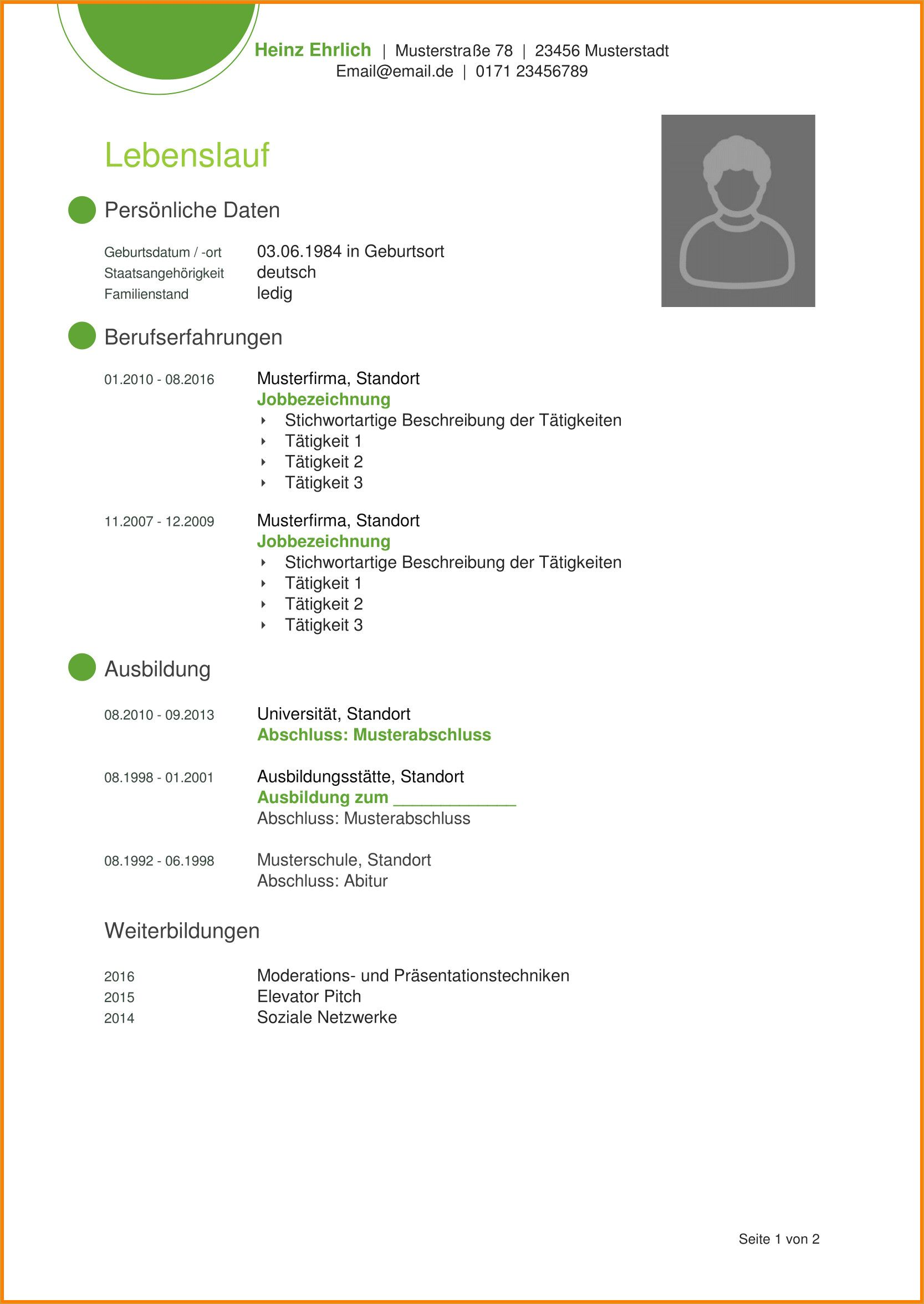 7 Lebenslauf Model Lebenslaufmodel