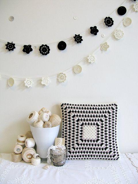 funda para almohada en blanco y negro | Crochet | Pinterest | Croché ...
