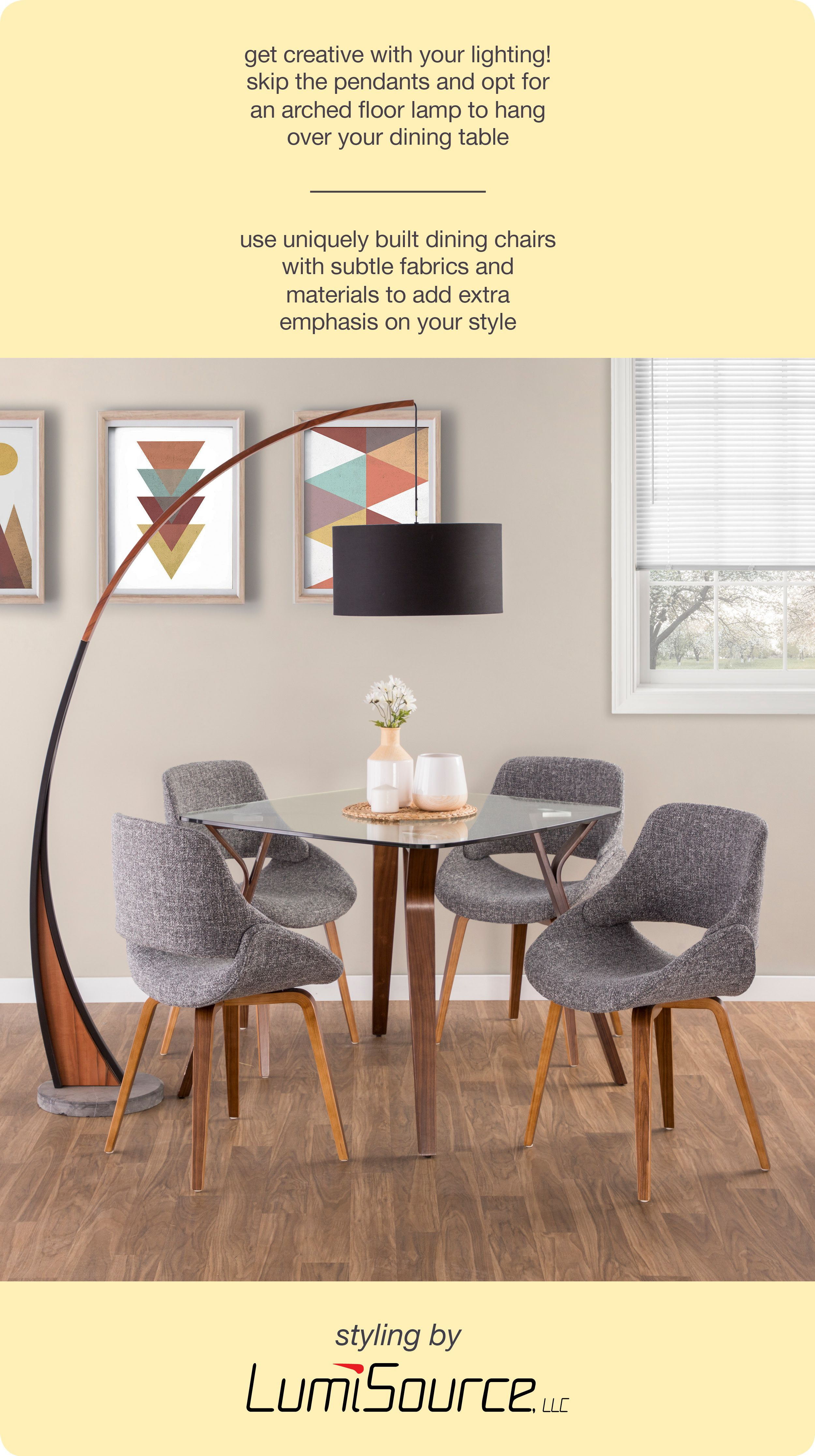 Get Creative With Your Lighting Skip The Pendants And Opt For An Arched Floor Lamp To Go Over Your Dining Chairs Dining Sets Modern Upholstered Dining Chairs