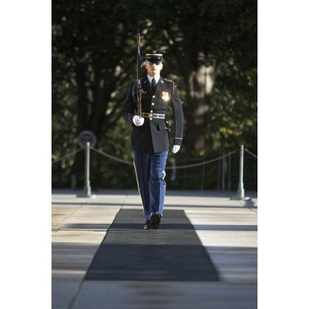 Honor Guard at the Tomb of the Unknowns Arlington National Cemetery Canvas Art - Terry MooreStocktrek Images (23 x 35)