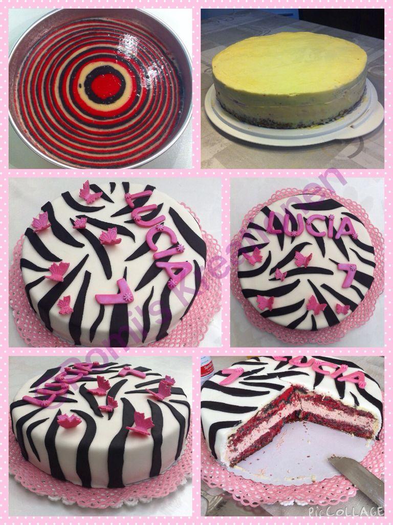 Zebra Fondant Torte mit Zebra Teig, gefüllt mit einer ...