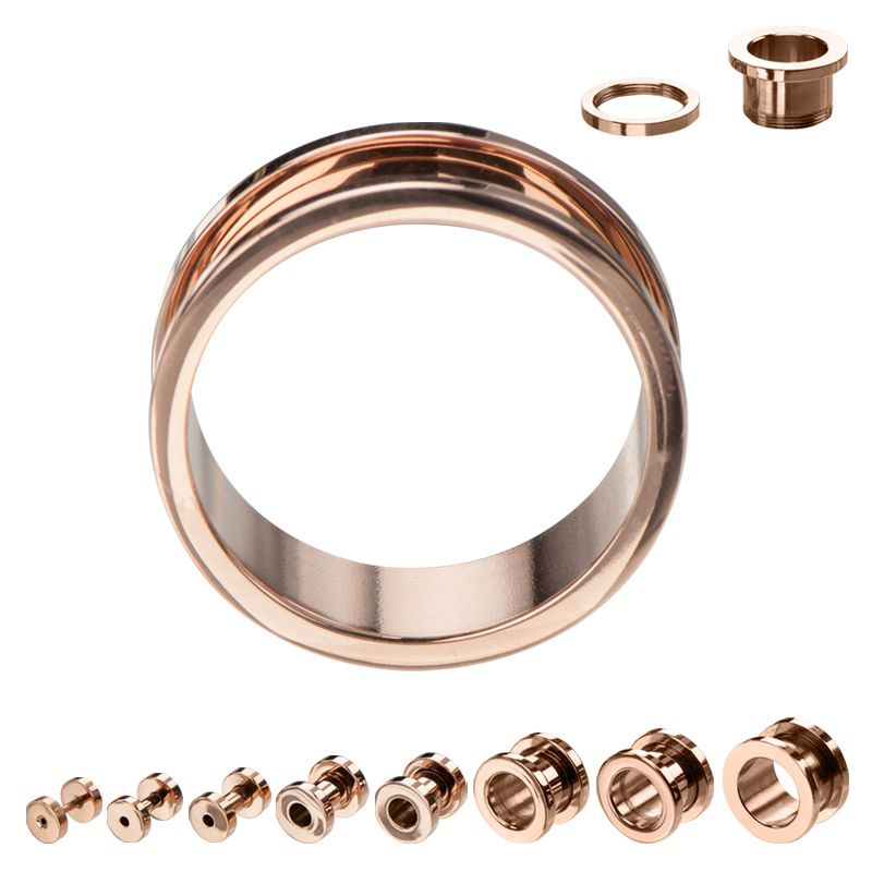 Gold Plated Surgical Steel Plugs Gauge Body Jewelry Tunnel Ear Screw Surgical