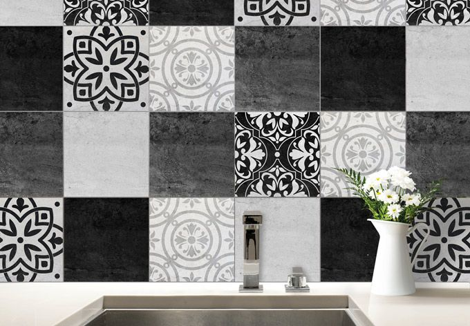 Sticker Carrelage Patchwork Noir Et Blanc Wall Art Decor Deco