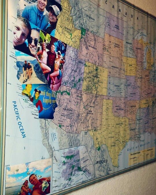 Couples Travel Map Collage Photos Of Every State Youve Been To
