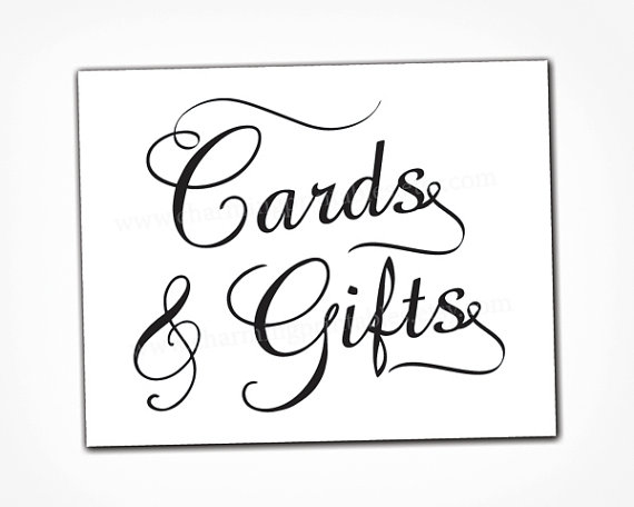 Card and gift table sign instant download printable for Table 6 gift card