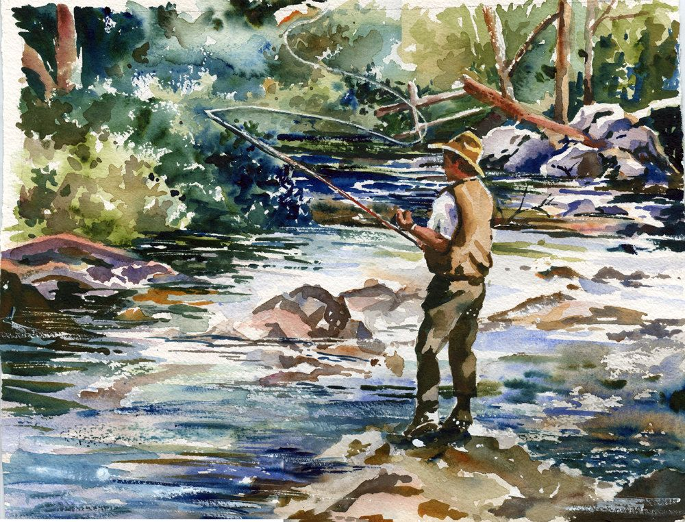 Fly fishing on the lake watercolor painting print for Fly fishing art
