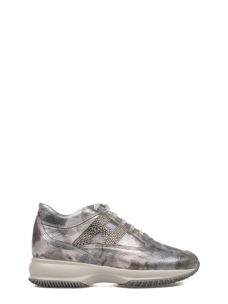 HOGAN Gray Interactive Metallic Leather Sneakers. #hogan #shoes #