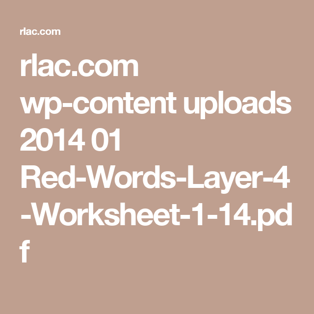 Rlac Wp Content Uploads 2014 01 Red Words Layer 4 Worksheet 1 14
