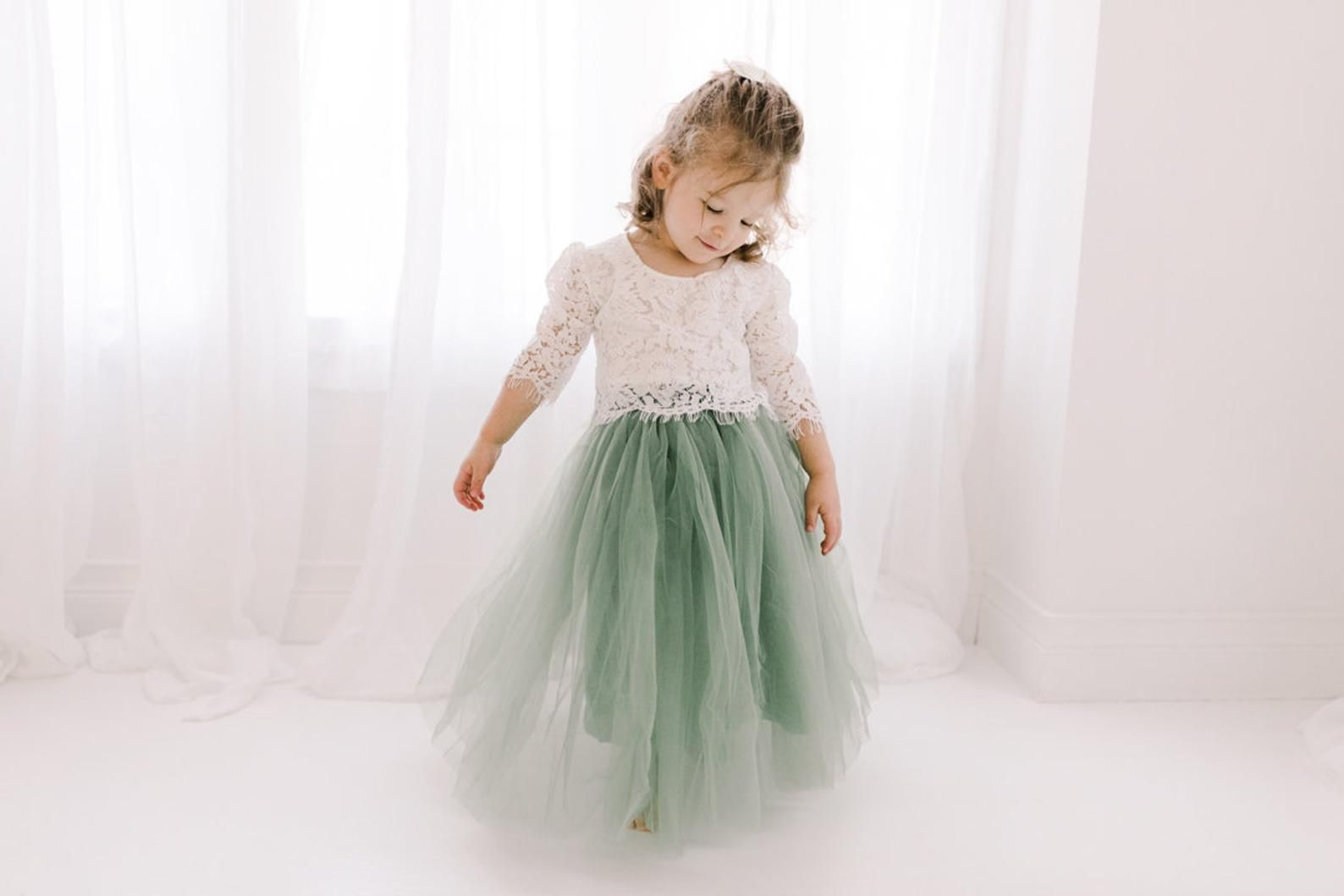 Moss green tulle two piece skirt sage tulle dress