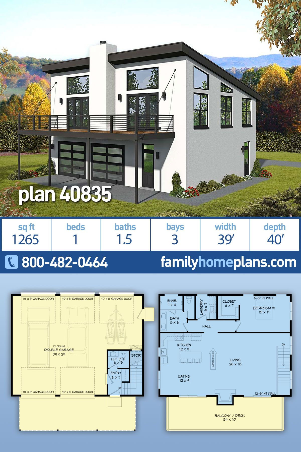 Traditional Style House Plan 40835 With 1 Bed 2 Bath 3 Car Garage In 2020 Garage Apartment Floor Plans Garage House Plans Garage Apartment Plan