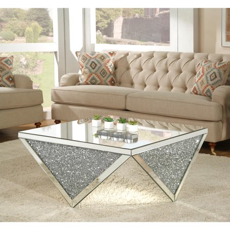Acme Furniture Noralie Coffee Table Mirrored Walmart Com Coffee Table Mirrored Coffee Tables Glam Coffee Table