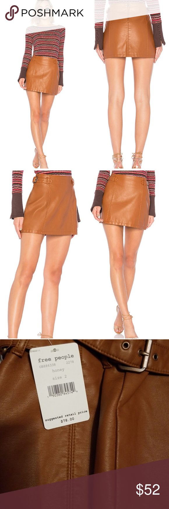 712ab9d0c NWT Free People Charli Vegan Skirt in Honey Brand new with tag! Size ...