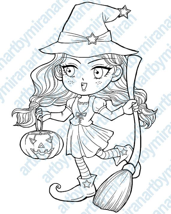 Halloween digital stamp-Trick or treat, Witch coloring page ...