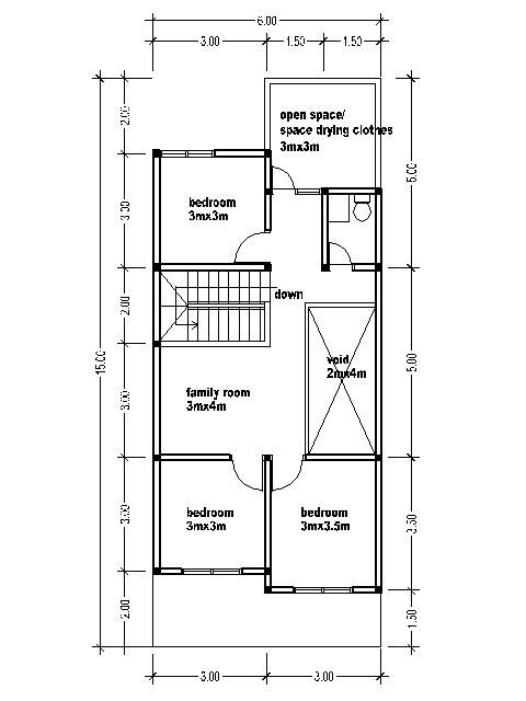 2 Bedroom Bi Level Home With Open Living: SMALL TWO-STORY HOUSE PLANS 6MX15M