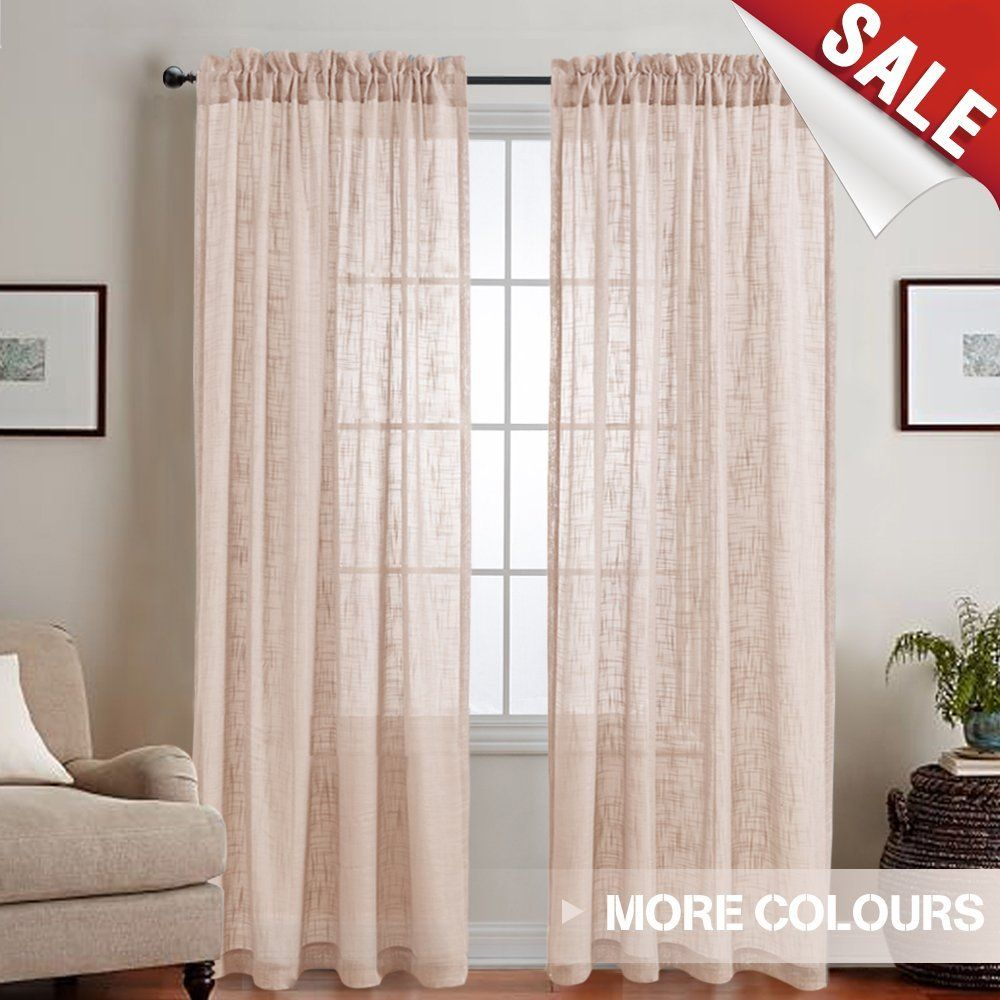 Amazon Com Linen Like Sheer Curtain Panels For Bedroom 95 Inches