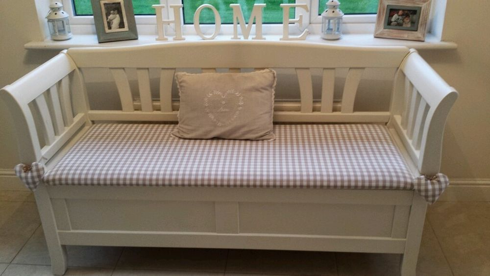 Marvelous Shabby Chic Storage Bench Seat In Laura Ashley White U0026 Gingham Hearts