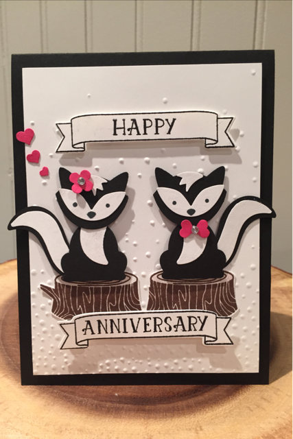Foxy Friends Stamp Set and Punch by Stampin Up! I made this for our 29th Wedding Anniversary!
